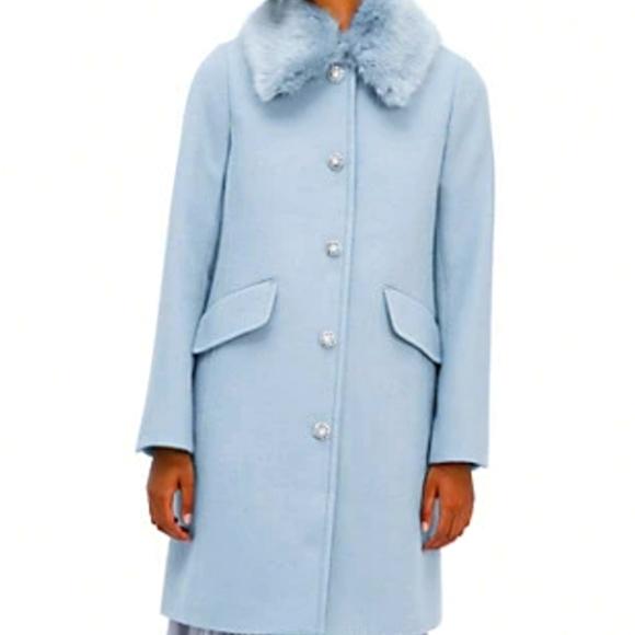 Kate Spade Faux fur blue coat